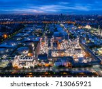 aerial view of twilight of oil... | Shutterstock . vector #713065921