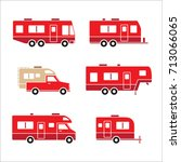 red auto rvs  camper cars  ... | Shutterstock .eps vector #713066065