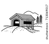 Covered Bridge Line Art...