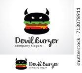 devil burger logo template... | Shutterstock .eps vector #713078911