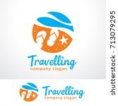 travelling logo template design ... | Shutterstock .eps vector #713079295