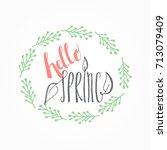 handwritten calligraphic hello... | Shutterstock .eps vector #713079409