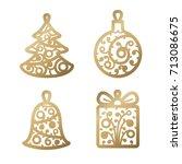 new year decoration. golden...   Shutterstock .eps vector #713086675