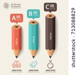 education concept. pencil and... | Shutterstock .eps vector #713088829