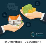 human hands with money and... | Shutterstock .eps vector #713088844