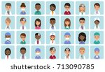 flat people doctors  nurses and ... | Shutterstock .eps vector #713090785