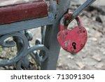 Aged Rusty Locked Heart Shaped...