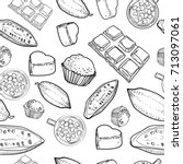 chocolate vector pattern of... | Shutterstock .eps vector #713097061
