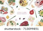 elegant colored hand drawn... | Shutterstock .eps vector #713099851