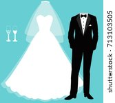 wedding card with the clothes... | Shutterstock .eps vector #713103505