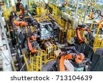 modern car production line  is... | Shutterstock . vector #713104639