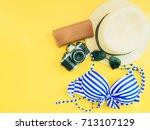 blue bikini girl travel and...   Shutterstock . vector #713107129