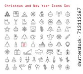 set of christmas icons. vector... | Shutterstock .eps vector #713113267