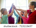 kids on a lesson | Shutterstock . vector #713113657