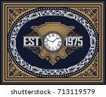 old baroque card. | Shutterstock .eps vector #713119579