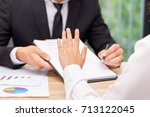 customer or woman says no or... | Shutterstock . vector #713122045
