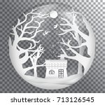 xmas and happy new year glass... | Shutterstock .eps vector #713126545