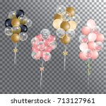 realistic balloon  transparent... | Shutterstock .eps vector #713127961