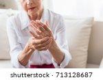 elderly female is expressing... | Shutterstock . vector #713128687