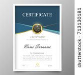 certificate premium template... | Shutterstock .eps vector #713130181