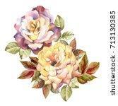 watercolor roses | Shutterstock . vector #713130385