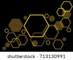 yellow hexagons on dark... | Shutterstock .eps vector #713130991