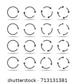 sets of black circle arrows.... | Shutterstock .eps vector #713131381