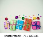christmas colorful gift boxes... | Shutterstock . vector #713133331