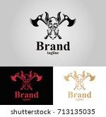 viking logo. three versions.... | Shutterstock .eps vector #713135035