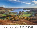Autumn at Lake Windermere, Cumbria, UK.  A beautiful sunny day in the English Lake District.