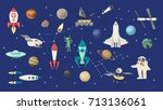 space objects set. rockets and...