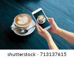 hand holding mobile smart phone ... | Shutterstock . vector #713137615