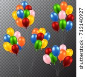 3d realistic colorful balloons. ... | Shutterstock .eps vector #713140927