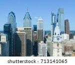 philadelphia skyscrapers with a ... | Shutterstock . vector #713141065