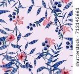 watercolor floral pattern ... | Shutterstock . vector #713142661