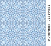 seamless boho syle pattern with ... | Shutterstock .eps vector #713144881