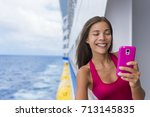 cruise ship woman using mobile... | Shutterstock . vector #713145835