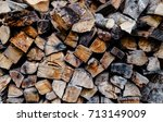 preparation of firewood for the ... | Shutterstock . vector #713149009