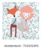 cute cat character animal... | Shutterstock .eps vector #713151391