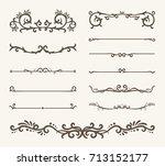 vector set of decorative... | Shutterstock .eps vector #713152177