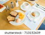morning breakfast  muesli with... | Shutterstock . vector #713152639
