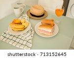 tasty sandwich and juice... | Shutterstock . vector #713152645