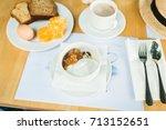morning breakfast  muesli with... | Shutterstock . vector #713152651