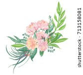 peony flowers bouquet... | Shutterstock . vector #713158081
