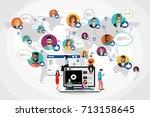 social network web site surfing ... | Shutterstock .eps vector #713158645