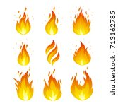 vector set of fire icons. flame ... | Shutterstock .eps vector #713162785