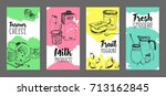 collection of flyers with dairy ... | Shutterstock .eps vector #713162845