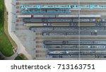 aerial photo of railway hub... | Shutterstock . vector #713163751