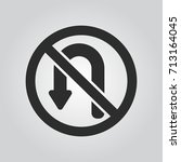 no u turn sign icon | Shutterstock .eps vector #713164045