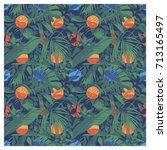 seamless summer hawaiian... | Shutterstock .eps vector #713165497